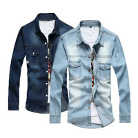 Men's Denim Shirt Casual Wash Slim Fit Jeans Tee Shirts