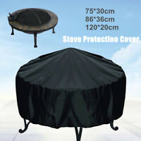 3Size Patio Round Fire Pit Cover Waterproof Dustproof UV Protector Black Outdoor