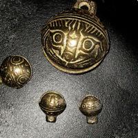 Tibetan Brass Bells Beads Craft Tiger's head Small Metal Ethnic 4PCS