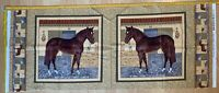 Pony Club Stables Horse Cotton Fabric Quilting Pillow Panel 45 X110