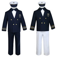 Baby Boy Toddler Captain Sailor Suit Formal Party Nautical Outfit Navy sz S-12