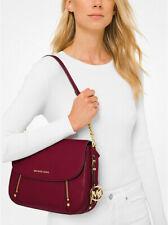 Michael Kors Bedford Legacy Medium Flap Leather Shoulder Bag Berry