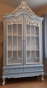 Stunning french blue and white vintage display cabinet