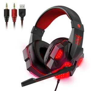 3.5mm Gaming Headset Mic LED Stereo Bass Headphones Surround For PC Xbox One PS4