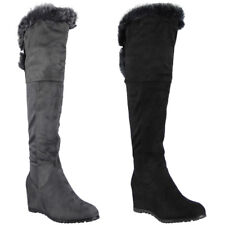 Womens Ladies Wedge Boots Over The Knee High Faux Fur Suede Mid Heel Shoes Size