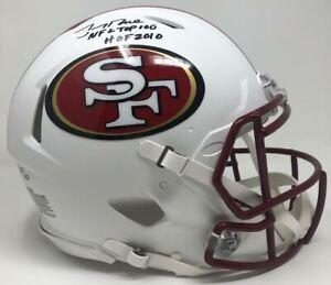 """JERRY RICE Autographed """"HOF 2010 NFL Top 100"""" Authentic Helmet FANATICS LE 10/10"""