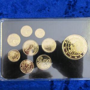 A1094 Kursmünzensatz- Deutschland Euro KMS Gold Plated & Rhodium Prestige Satz