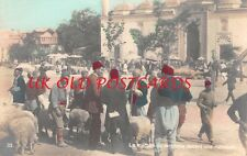 TURKEY - Turkish Sheep Market outside Mosque,  Colour Tinted Real Photo.