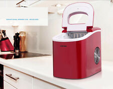 220V Red Portable Compact Electric Ice Maker Machine Mini Cube 26lb/Day New