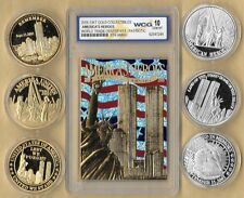 2002 23 Kt Gold World Trade Center 9/11 Patriotic Silver 6 Coin Lot 5th Anniv