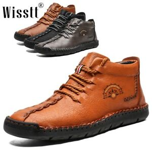 Wisstt Men's Hand Stitching Lace Up Ankle Boots Leather Casual Shoes Large Sizes