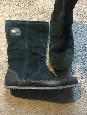 Sorel Yaquina Tall Boots  Women's Size 8 Suede Black NL2024-010