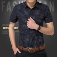 Men fashion luxury casual slim fit business dress shirts short sleeve shirt tops