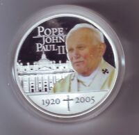 1920 - 2005 $1 Pope John Paul II Proof Silver Coin Australia