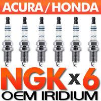 6 x NGK Laser Iridium Spark Plug Set OEM Honda/Acura V6 ILZKR7B11 12290-R70-A01