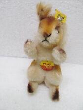 MES-39063 Altes Steiff Eichhörnchen Possy H:ca.12cm mit Knopf,Schild und Fahne,