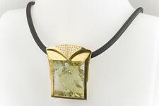 Schmuck Collier imposant 114 Carat Beryll mit Brillanten Gold und Kautschuk Reif