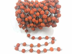 5 Feet Rudraksha Mala Round 4-5mm Beads Rosary Beaded Chain Oxidized Wire