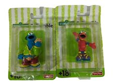 "Sesame Street Mini Figures Elmo & Cookie Monster Collectible New 3"" Plastic Rare"