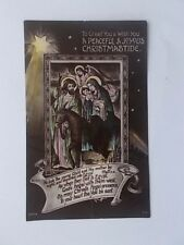 VINTAGE CHRISTMAS CARD POSTCARD - A PEACEFUL & JOYOUS CHRISTMASTIDE - BABY JESUS