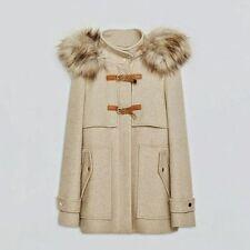 Zara Winter WOOL DUFFLE COAT WITH DETACHABLE FUR HOOD Size 8 (RRP £~190)