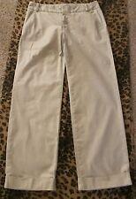 """DOCKERS Nouveau Fit Pant Tan SZ 10 Tonal Stripe Cotton Blend 30-1/2"""" Inseam Cuff"""