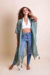 Boho Tassel Maxi Kimono Duster Woven Loose Fit Gypsy Hippie Long Cardigan OS