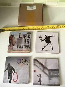 BANKSY ART LIFE IS BEAUTIFUL OLYMPIC RINGS GIRL BALLON TEA MATS COASTERS 4 SET