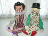 """1950-60s Pair of Beautiful 24"""" Decorative Mantel-Shelf Clowns"""