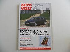 revue automobile AUTO VOLT schéma-fiche HONDA CIVIC 3 portes mot 1.5 ess n° 713