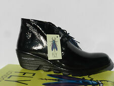 Fly London Pert Chaussures Femme 40 Bottines Cuir Verni Patent Compensé UK7 Neuf