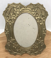 "Brass Ornate Picture Frame Floral Vines 8"" X 6"" Vintage"