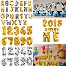 "40"" Gold/Silver Mylar Foil Letter Number Balloons Wedding Birthday Event Decor"