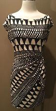 Diane Von Furstenberg Dress Sz 12 L Black Cream 100% Silk Ruched Tie Waist