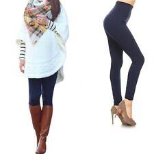 NAVY Blue High Rise Fleece Leggings Tummy Control Stretchy Lounge Pants