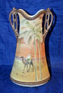"""Antique Nippon Scenic Vase Palm Tree Beaded 9 1/2"""" tall"""