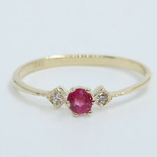 Natural White Diamond and Red Ruby 14K Solid Yellow Gold Solitaire Ring Size 7
