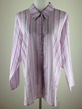 *NEW* DENIM & CO L/S Sheer 'Striped Voile Shirt', Straight Hem-  L, Purple White