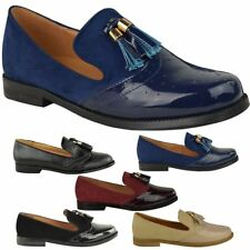 WOMENS LADIES FLAT TASSEL LOAFERS BROGUES SHOES TARTAN CHECK SCHOOL WORK SIZE