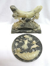 Vintage Carved Jade Round Table Plaque Screen w/ Carved Jade Stand