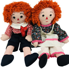 """Vintage Handmade Raggedy Ann & Andy Dolls 26"""" Tall Unbranded Set of Two"""