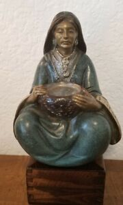 Vtg R. Morales Woman With A Basket BRONZE METAL SCULPTURE Icarus 1993 242/1200