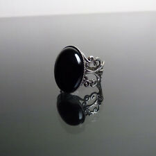 Black Onyx gemstone ring gothic filigree victorian steampunk adjustable BELLA