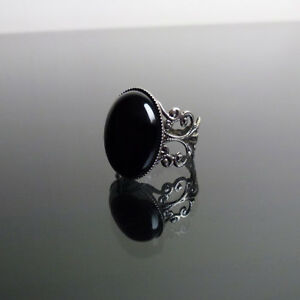 Black Onyx gemstone ring gothic filigree victorian steampunk adjustable BELLA