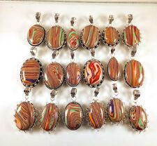 Wholesale 100 PCs Lot Rainbow Calsilica Gemstone Silver Plated Necklace Pendants