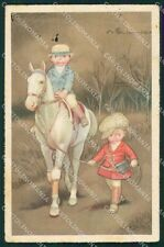 Colombo Art Deco Boy and Horse CREASES serie 13 postcard cartolina QT6523