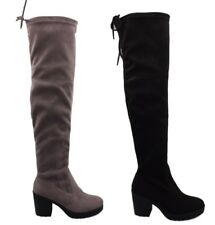 Boutique Stretch Suede Chunky Grip High Block Heel Long Boots with Tie Top DH6