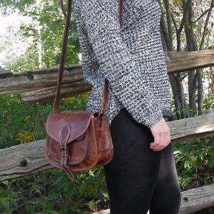 Women Vintage Looking Brown Leather Purse Messenger Cross Body Bag New Handmade