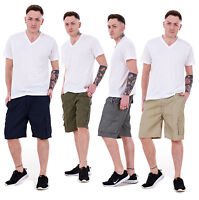 Men's Shorts Cargo Combat Plain Fly Zip Classic Elasticated Casual Summer M-3XL