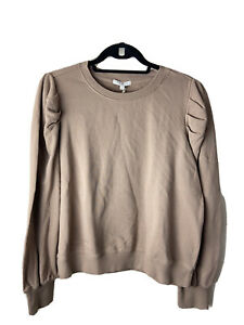 z supply Zoe Sweatshirt Crewneck Puff Sleeve Pullover Taupe Womens Large NWT